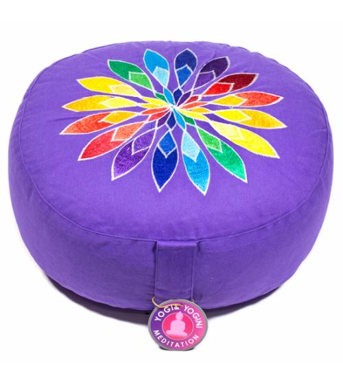 Coussin de méditation violet fleur multicolore
