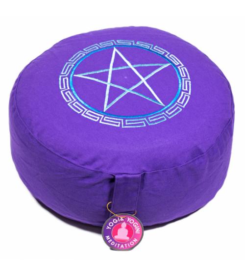 Coussin de méditation Pentacle violet foncé