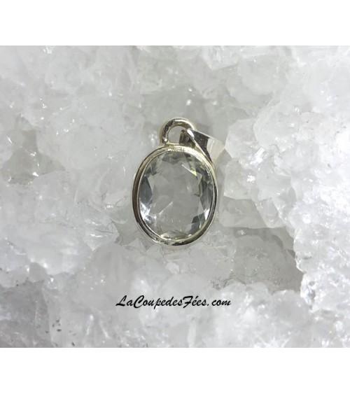 Petit pendentif Cristal faceté & Argent
