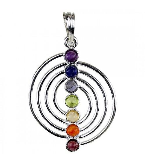 Pendentif Chakra spirale 7 pierres