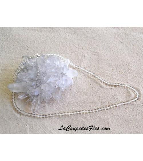 Collier Cristal de Roche pierres rondes