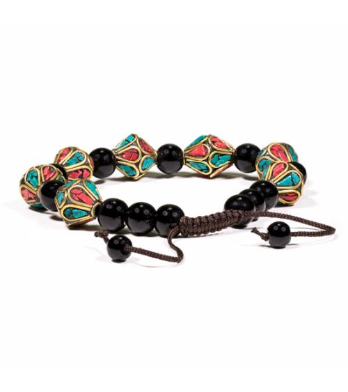Bracelet Turquoise, Corail et Onyx