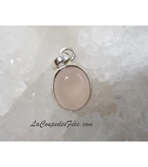 Petit pendentif Quartz rose faceté & Argent