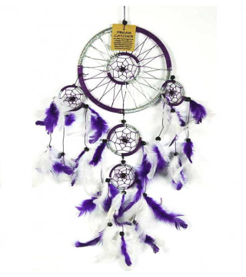 Attrape rêve violet & blanc