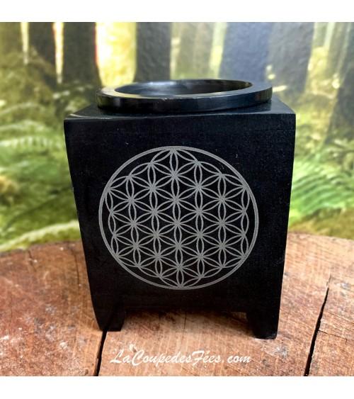 Encensoir Lampe Aromatique Fleur de vie Noir
