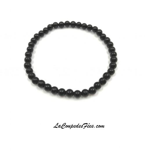 Bracelet Pierre en Tourmaline Noire (4 mm)