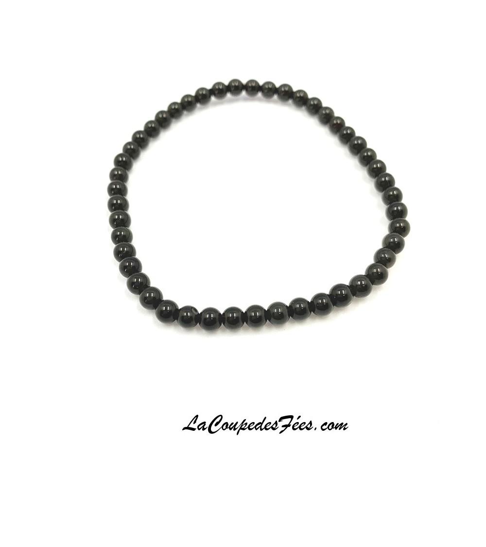 Bracelet en Obsidienne Noire (4 mm)