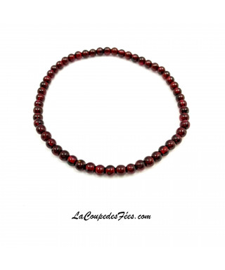 Bracelet Pierre en Grenat Rouge (4 mm)