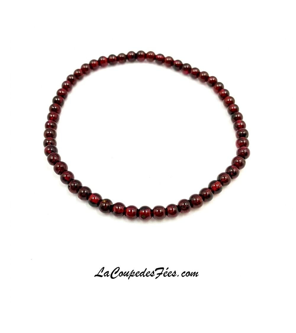 Bracelet Pierre en Grenat Rouge (4 mm)