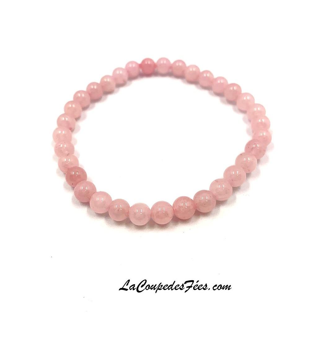 Bracelet perles Quartz Rose 6mm Lithothérapie Tendresse Amour