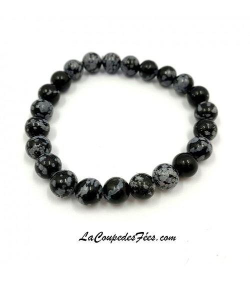 Bracelet Pierre Obsidienne Floconneuse