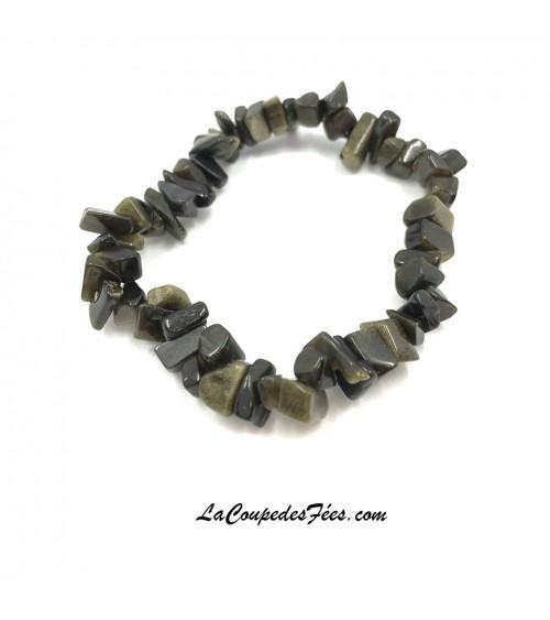 Obsidienne Dorée bracelet chips
