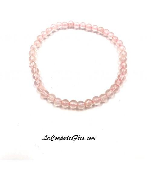 Bracelet perles Quartz Rose (4 mm)