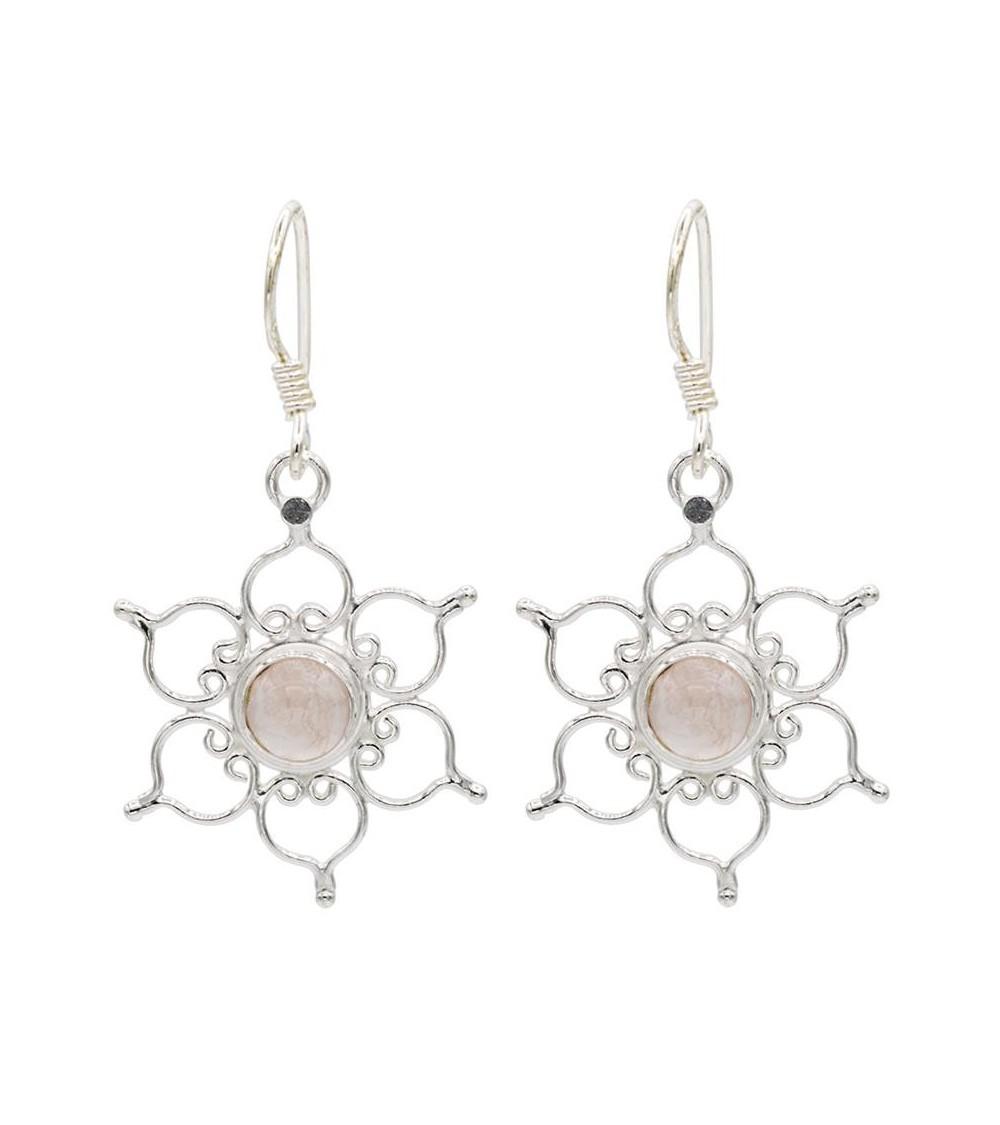 Boucles d'oreilles Lotus Quartz Rose