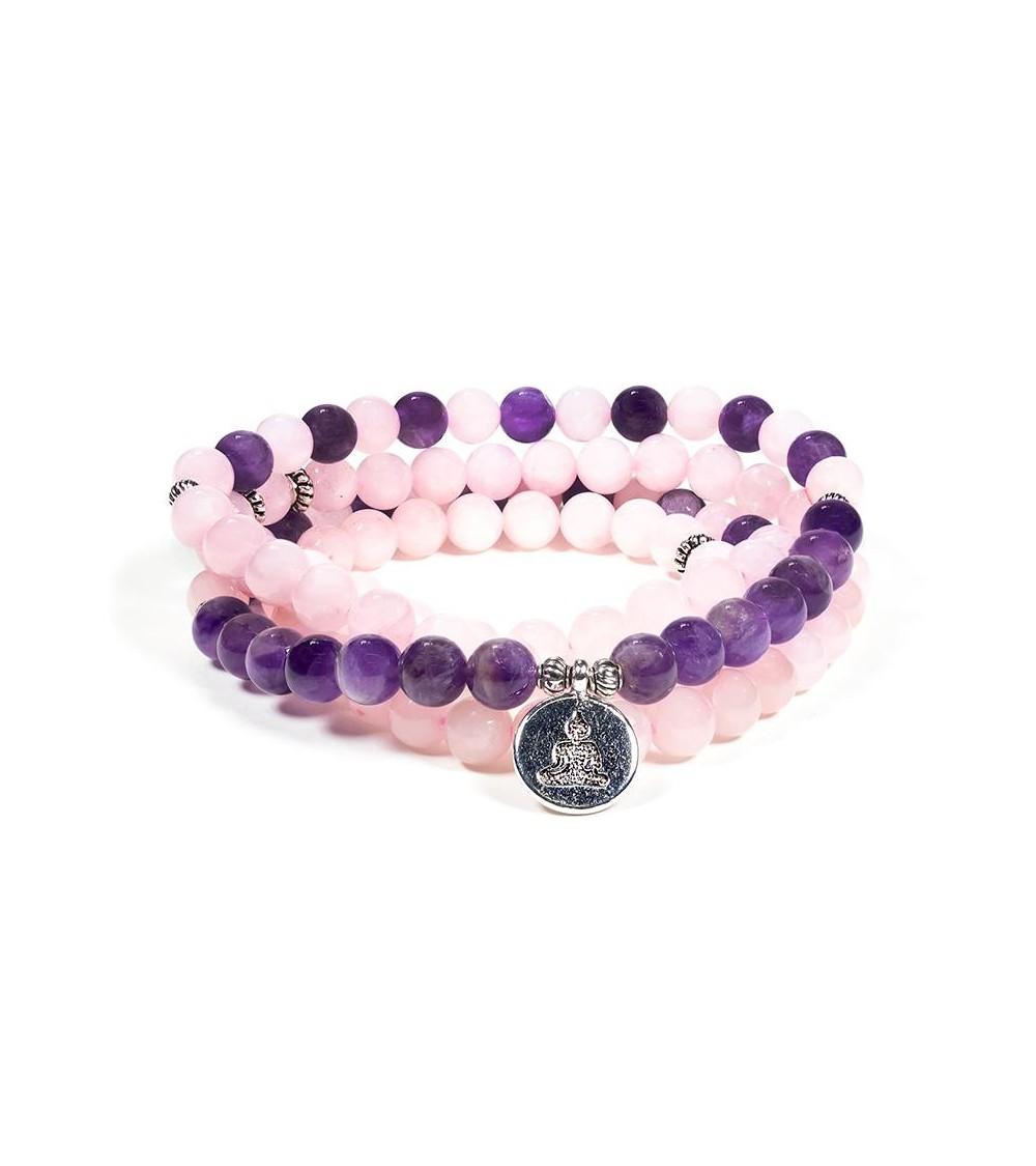 Bracelet Mala en Quartz rose et améthyste
