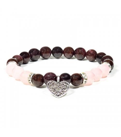 Bracelet Grenat Quartz rose & Coeur