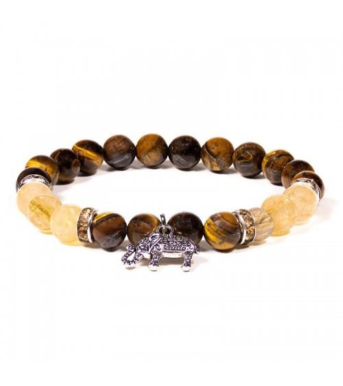 Bracelet Oeil de Tigre Quartz rutile & Elephant