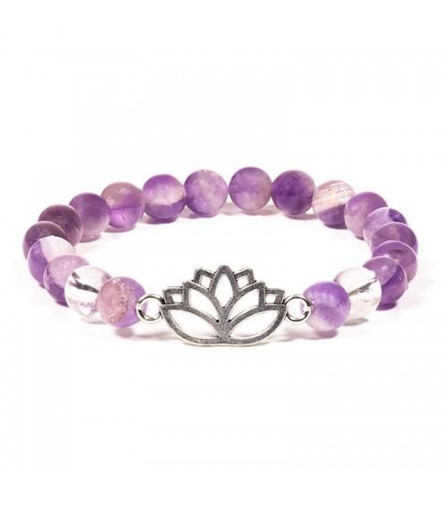 Bracelet Améthyste Cristal de roche & Lotus