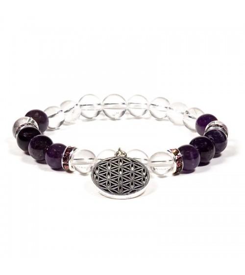 Bracelet Améthyste Cristal de roche & Fleur de vie