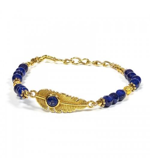 Bracelet plume avec Lapis Lazuli