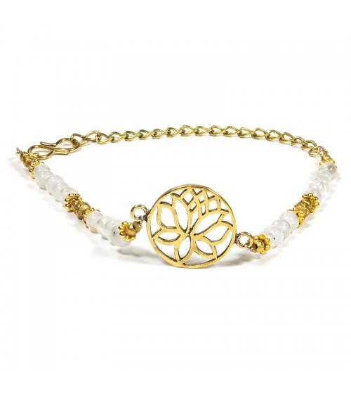 Bracelet Lotus avec labradorite blanche