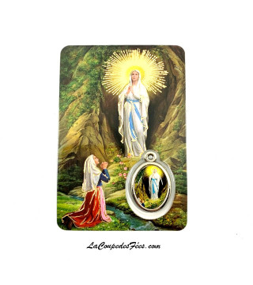 Carte médaille Notre Dame de Lourdes
