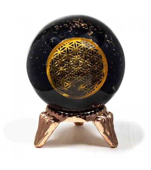 Sphère Tourmaline noire et fleur de vie en orgonite