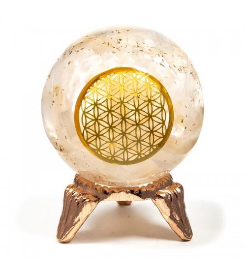 Sphère sélénite et fleur de vie en orgonite