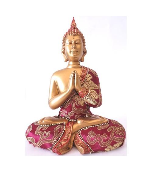 Statuette Bouddha rouge et or