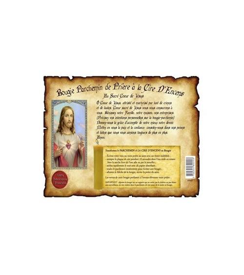 Parchemin de cire à l'encens Sacré Cœur de Jésus