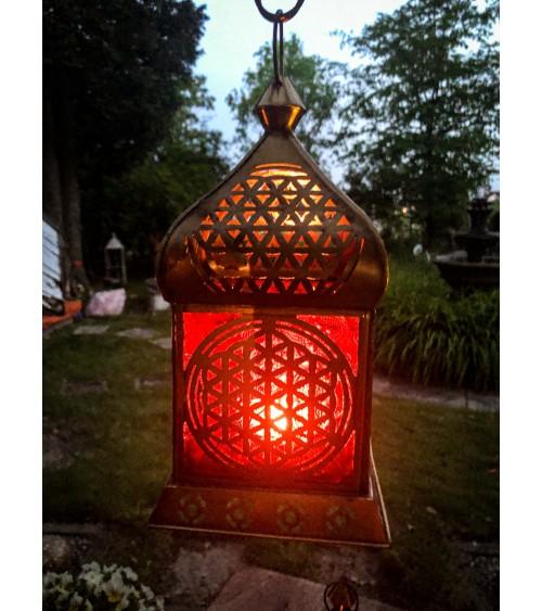 Lanterne Fleur de Vie Dorée