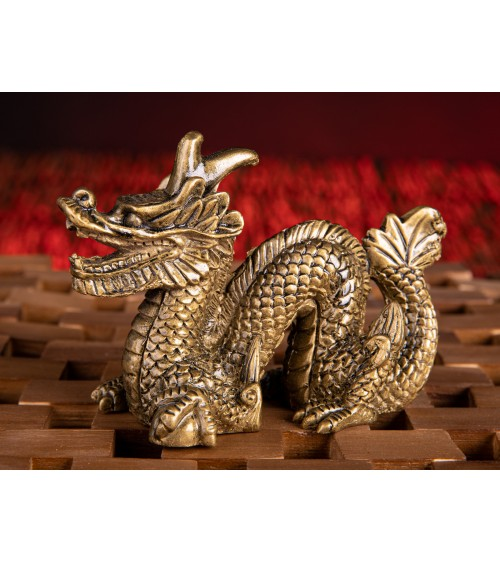 Dragon en résine dorée PM