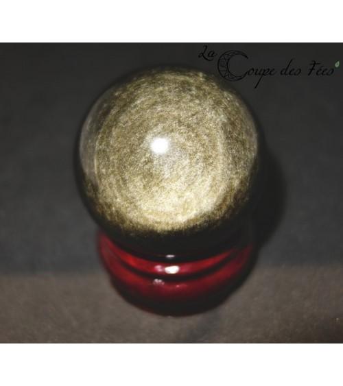 Sphère en Obsidienne Dorée 6