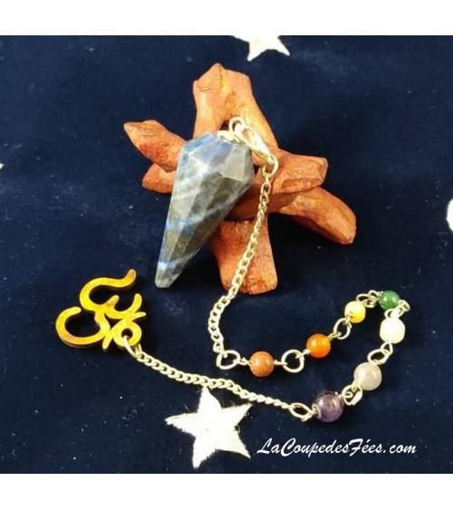 Pendule Facettes en Lapis Lazuli et perles 7 chakras