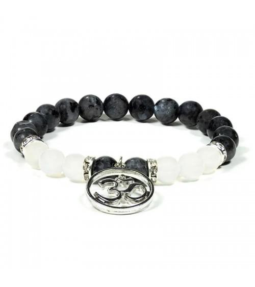 Bracelet Labradorite / Agate blanche avec om