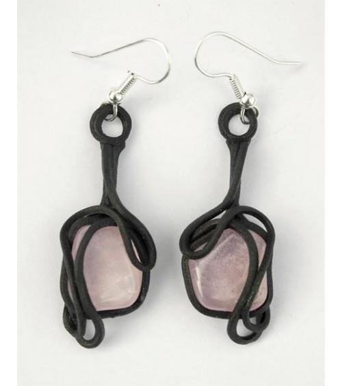 Boucles d'oreilles Quartz  Rose & Résine