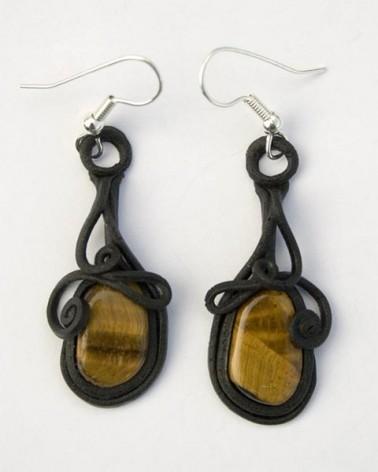 Boucles d'oreilles Oeil de Tigre & Résine