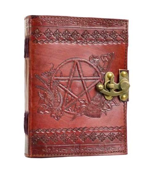 Grimoire cuir Pentagramme Lunaire