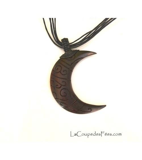 Pendentif Lune en bois