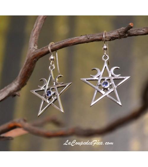 Boucles d'oreilles Pentagramme Lunes