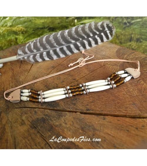Collier Cherokee en Os blanc et Marron
